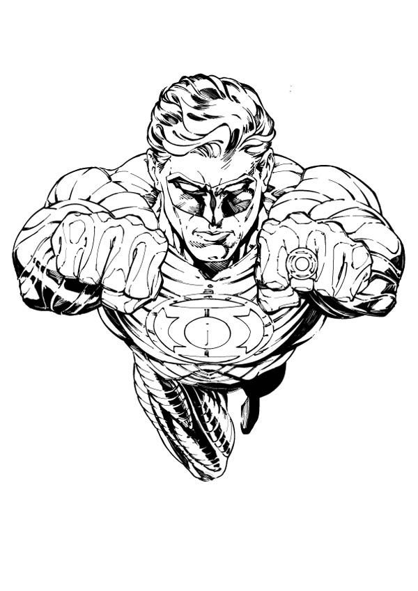 The Owner of Green Lantern Ring Coloring Page | Superhero ...