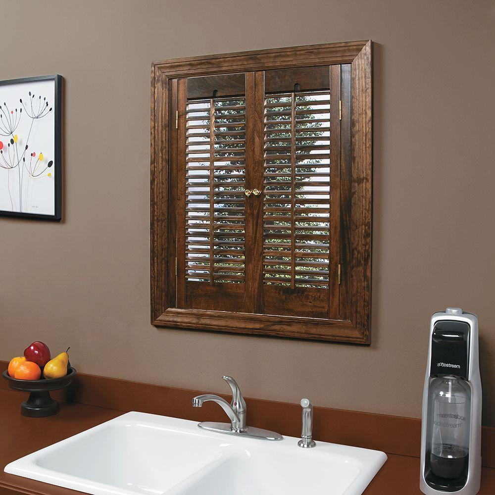 Home Basics Traditional Real Wood Walnut Interior Shutter Price