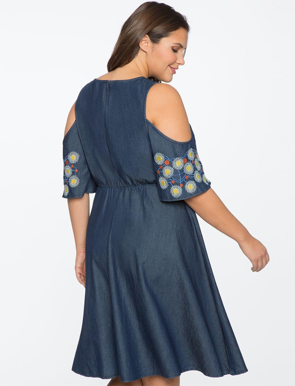 3eeaab137d Off the Shoulder Sweetheart Denim Dress | Women's Plus Size Dresses ...