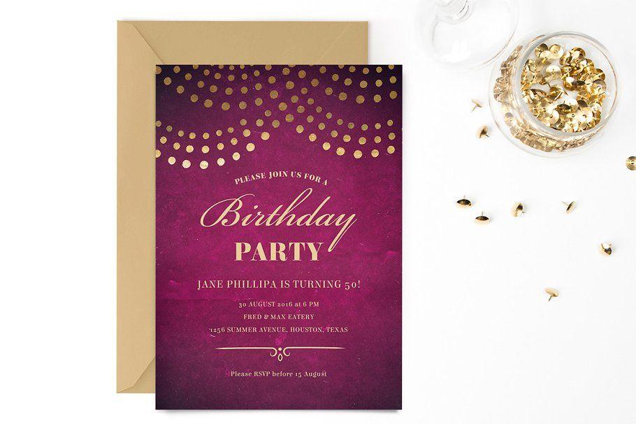 Elegant 50th Birthday Party Invite Birthday Invitation Templates 50th Birthday Party Elegant Birthday Party