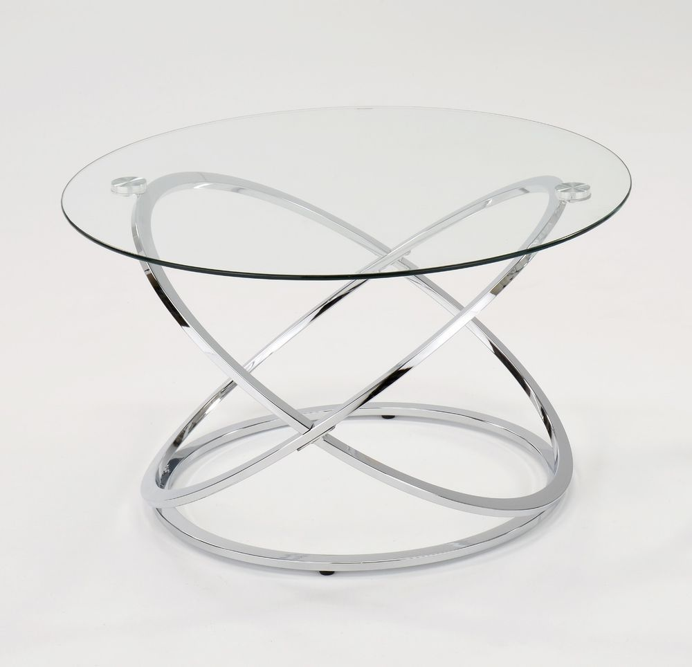 - Details About Monarch Clear Glass Round Coffee Table Chrome Base