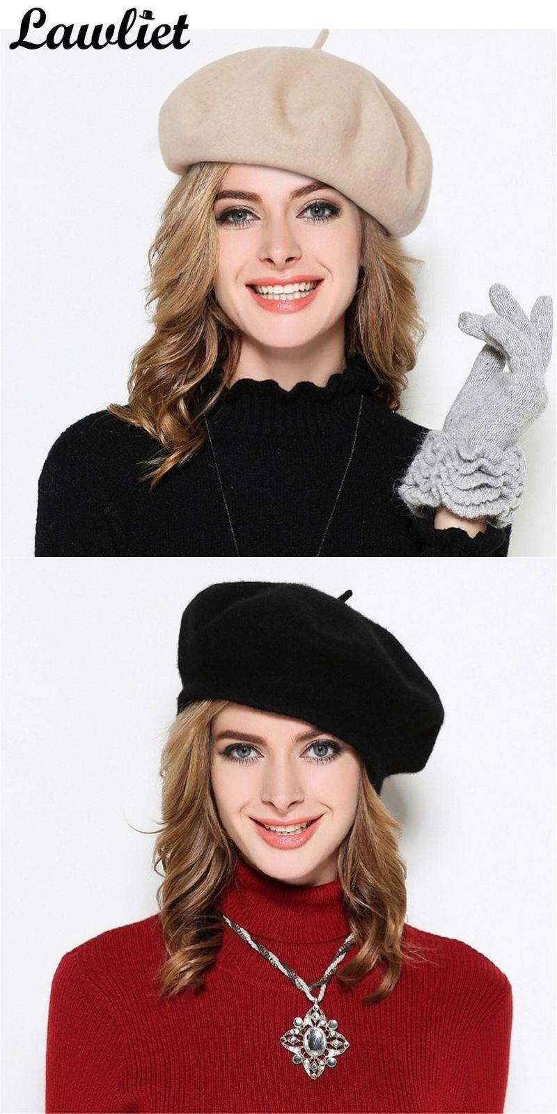 1c171756a8944 Pure wool beret hat autumn winter women beret cap adjustable flat top  france casual cap feminina