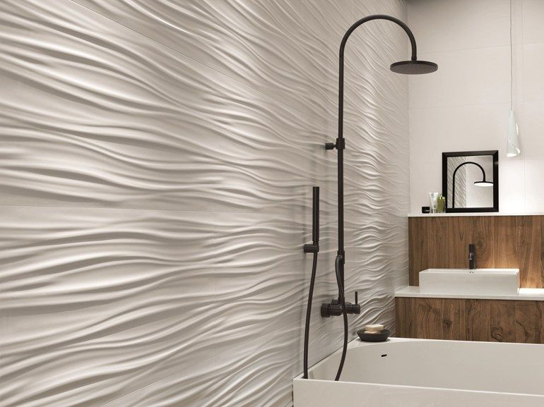 White Paste 3d Wall Cladding Ribbon By Atlas Concorde Trendy Bathroom Tiles Wall Cladding Neutral Bathroom Tile