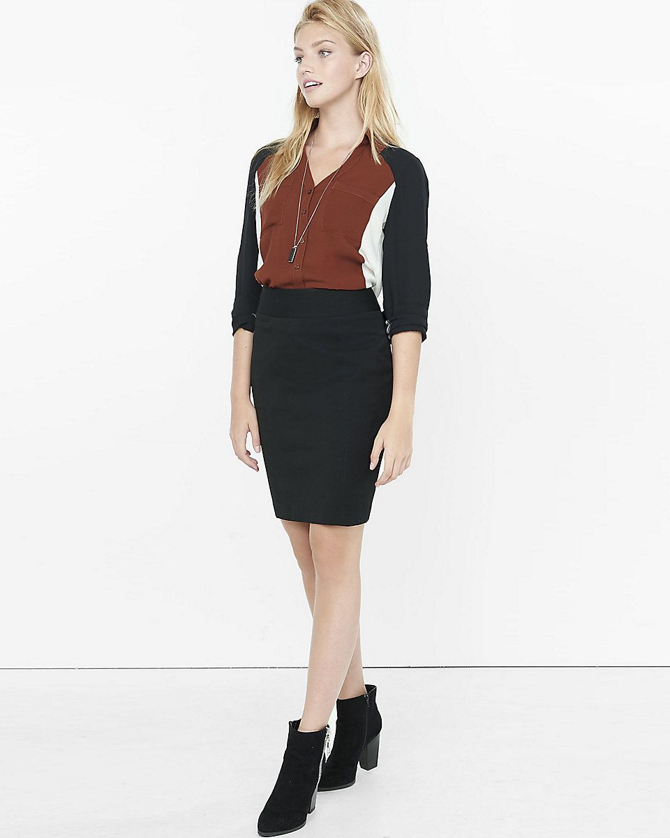 644a9c6f6c7b high waist studio stretch pencil skirt with tucked in top - casual or work