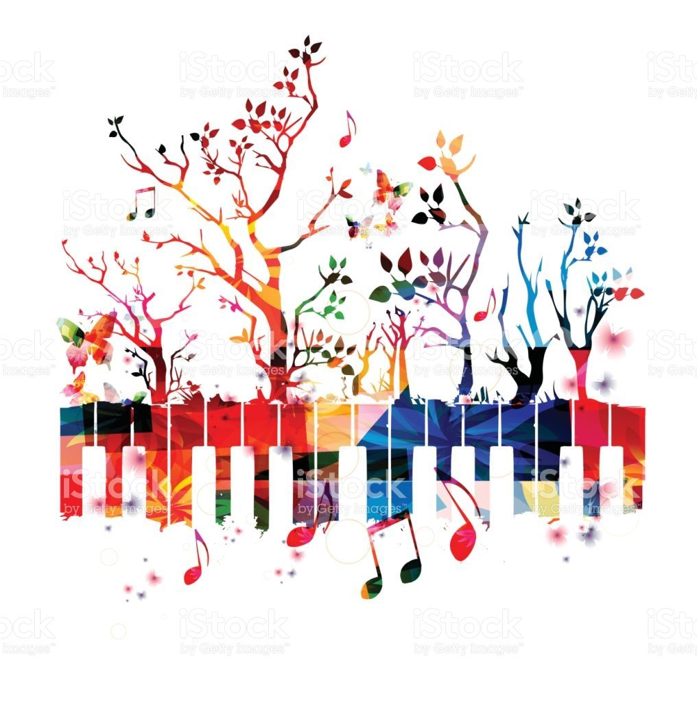 Piano colorful. Keyboard with trees and