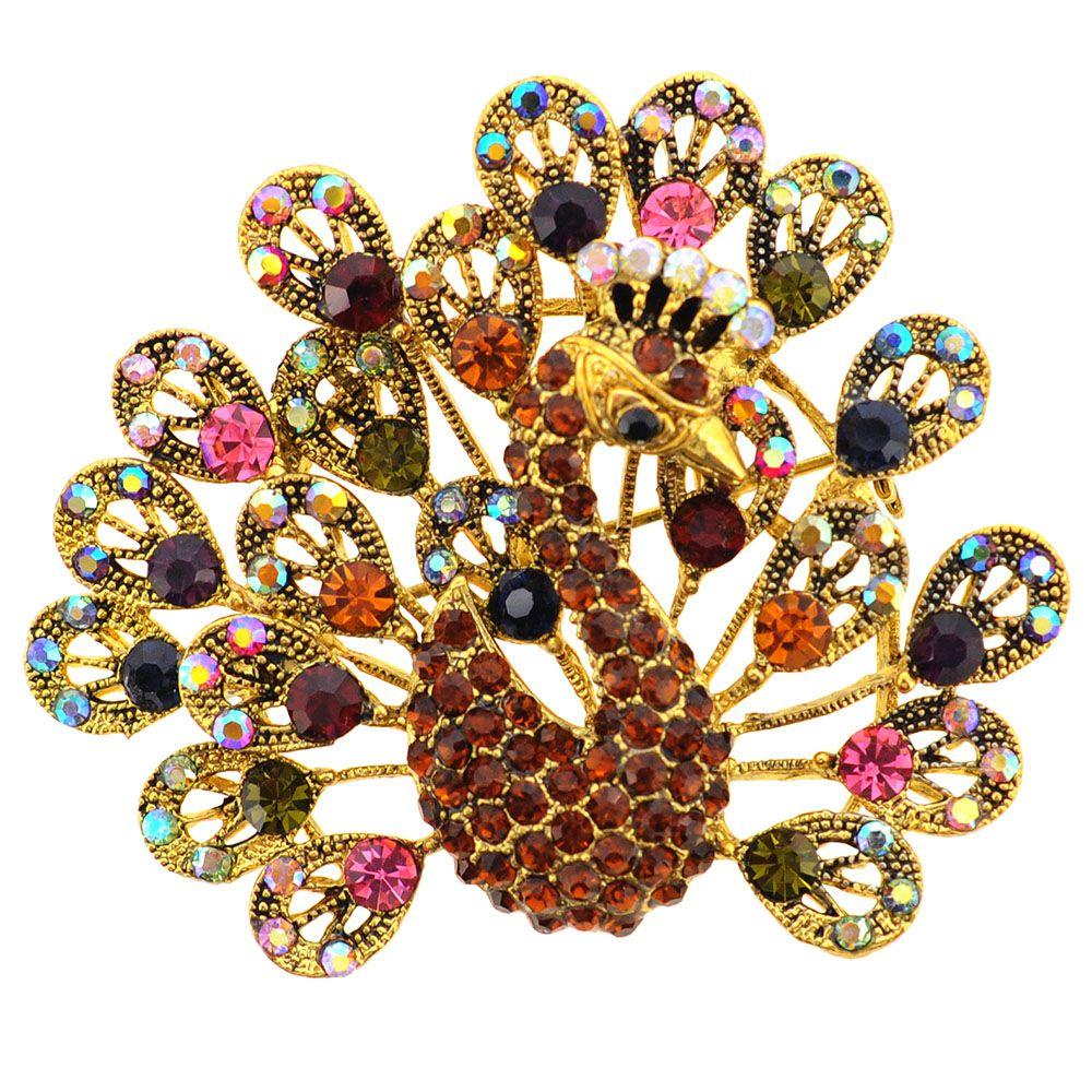 3d3a5cdf838 Golden Multicolor Peacock Crystal Brooch Pin | Peacocks<6 | Crystal ...