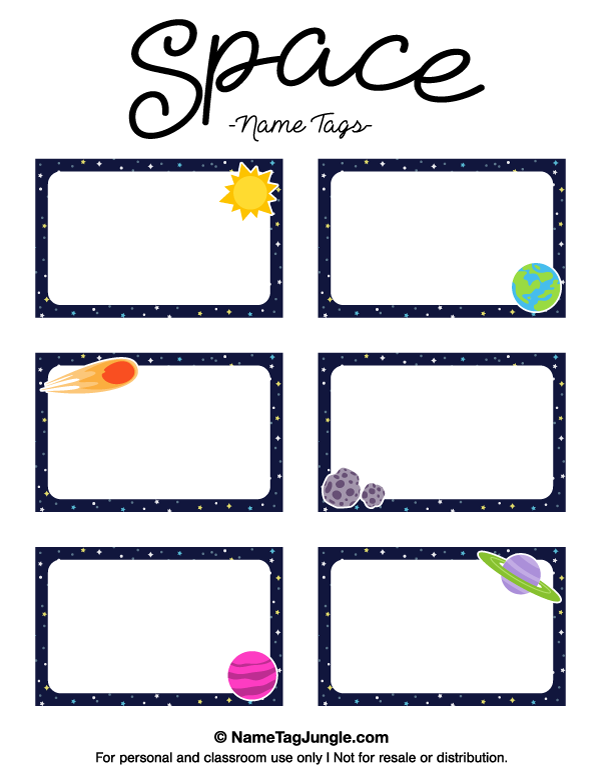 name templates for preschool - free printable space name tags the template can also be