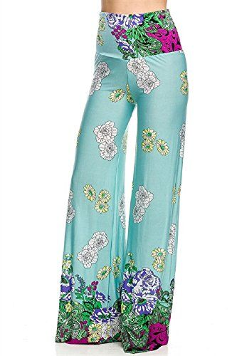 9f9a0beeaa Women s Sweet Spring With Floral Border Wide Leg Print Palazzo Pants ...
