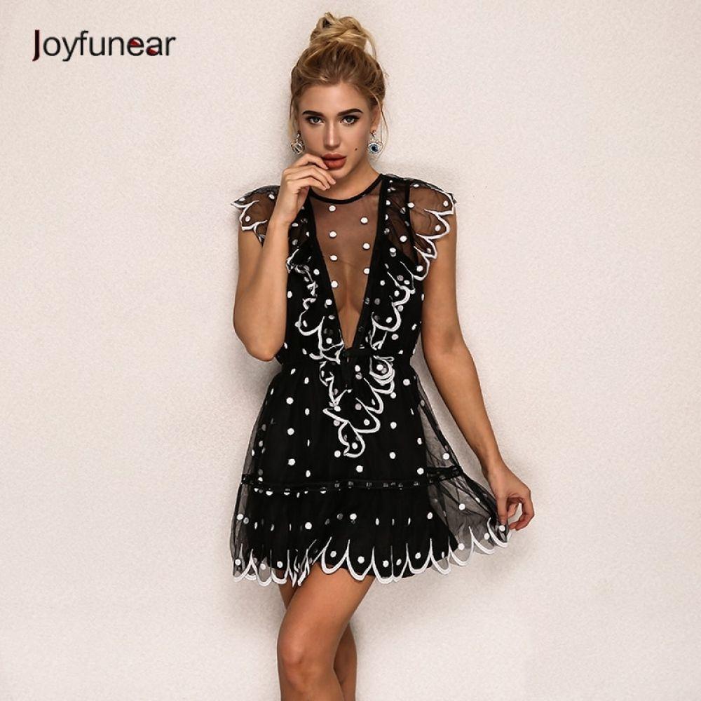 f31e5b04e3bf8 Joyfunear Ruffle Cold Shoulder Polkadot Summer Sexy Dress Vintage ...