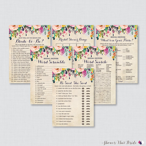 floral bridal shower games package with six games printable colorful flower garden bridal shower games he said she said bingo etc 0002