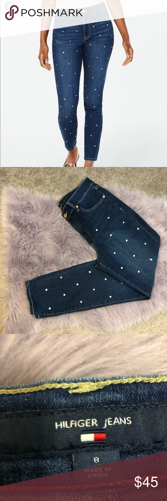 66a04f591 Tommy Hilfiger Skinny Tribeca Embellished Jeans Worn only once. They are  too big for me