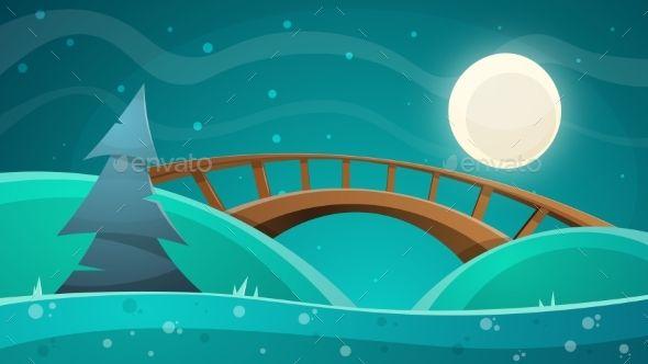 Cartoon Night Landscape Moon Bridge Fir Sky Night Landscape Landscape Sky