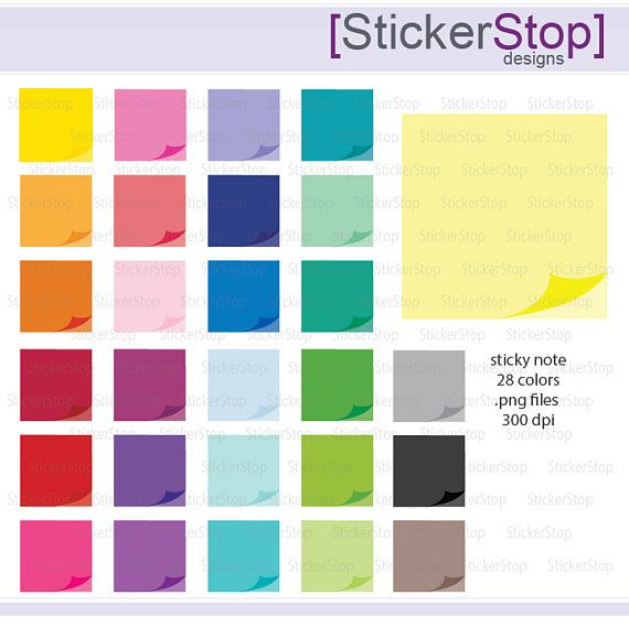 Sticky Note Icon Digital Clipart in Rainbow Colors - Instant ...