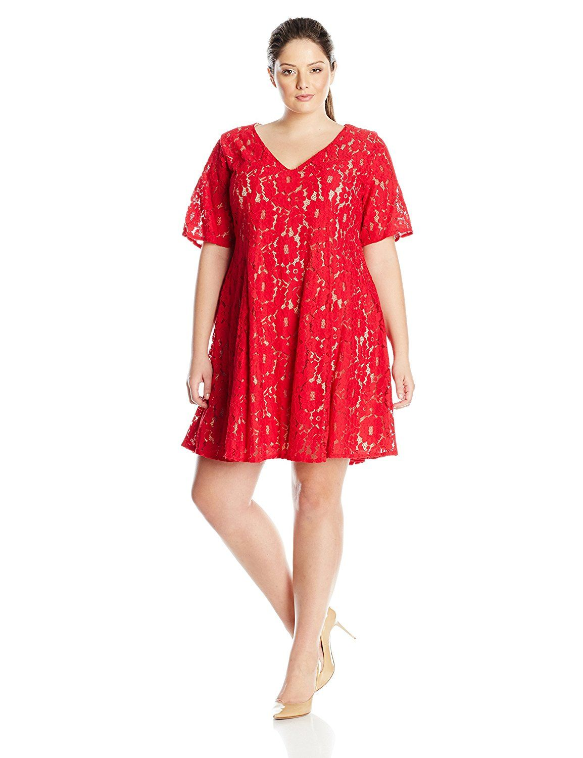 Red lace dress plus size  Julian Taylor Womenus PlusSize Trapeze Lace Dress Elbow Sleeve