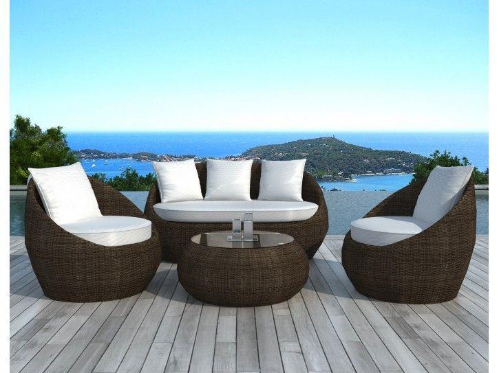 Salon de jardin en résine tressée ronde MALAGA | Jardin | Pinterest ...