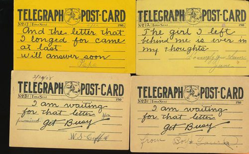 Lot of 6 Early Telegraph Message Antique Greetings Postcards-bbb605