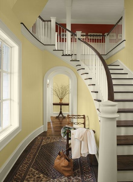 Benjamin Moore S Yellow Paint Color Combination For Hallways And Entryways Concord Ivory Hc 12 Walls Strawberry Field 2088 30 Upstairs
