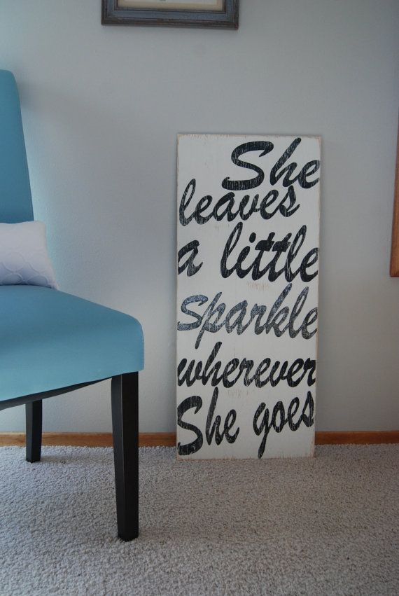 16x36 Hand Painted Wooden Sign with Quote She Leave by ASign4Life, $50.00