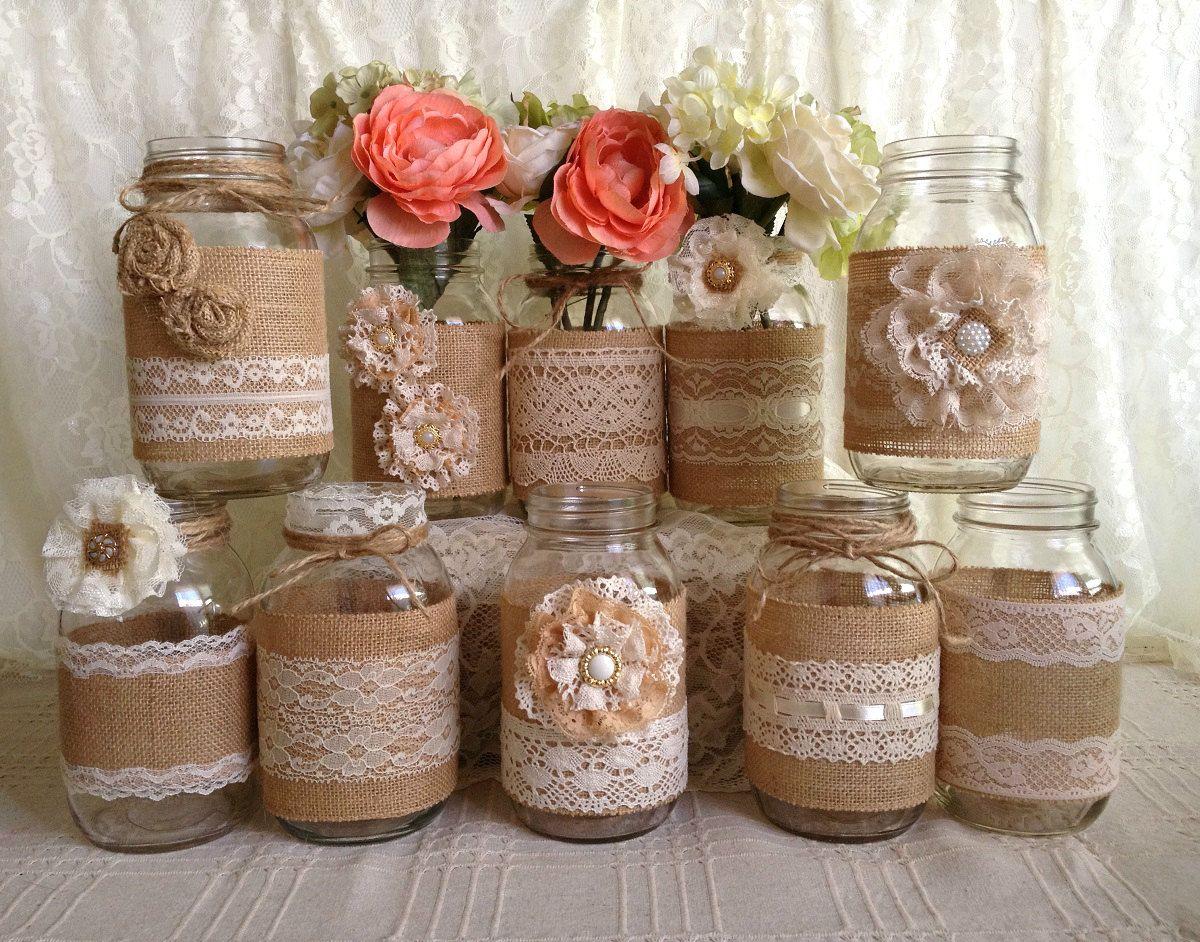 10x Rustic Burlap And Lace Covered Mason Jar Vases Wedding