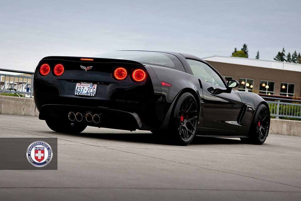 Mookster Corvette Z06 Black Widow On Hre Wheels Rear Angle View