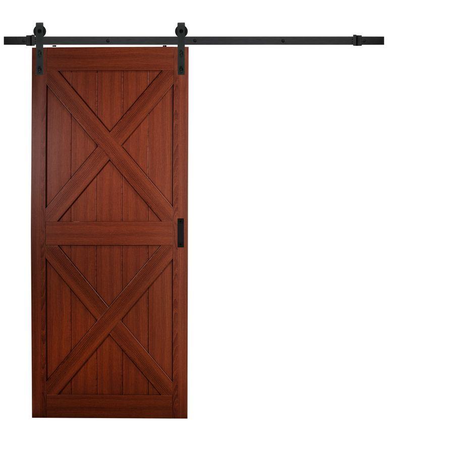 Cherry Solid Core Crossbuck Barn Interior Door Common 36 In X 84 In Actual 36 In X 84 In Lowes Com Barn Door Barn Style Doors Interior Barn Doors