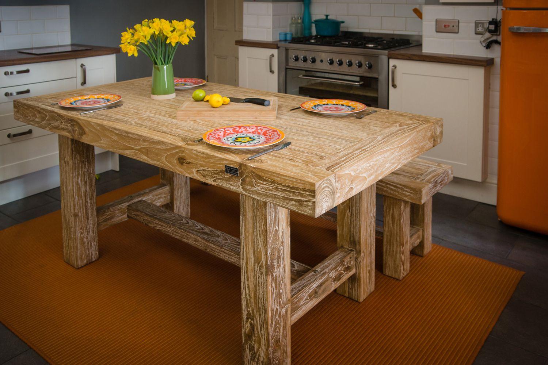 Elephant dining table white rustic reclaimed teak fsc