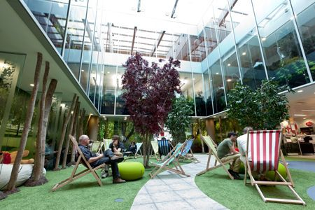 google's office interior is a walk in the park | deck chairs