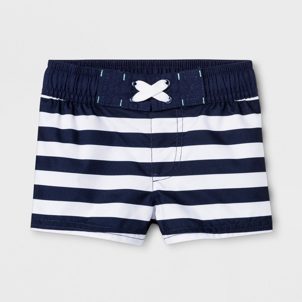 ef7bb87897 Baby Boys' Stripe Swim Trunks - Cat & Jack Navy 9-12M, White | Products