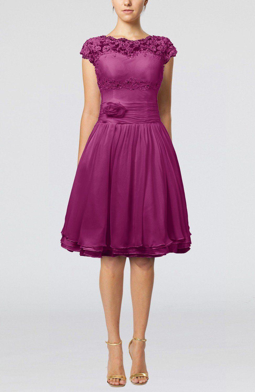 Raspberry Bridesmaid Dress - Cinderella A-line Scalloped Edge Short Sleeve Chiffon Knee Length Short | BjsBridal