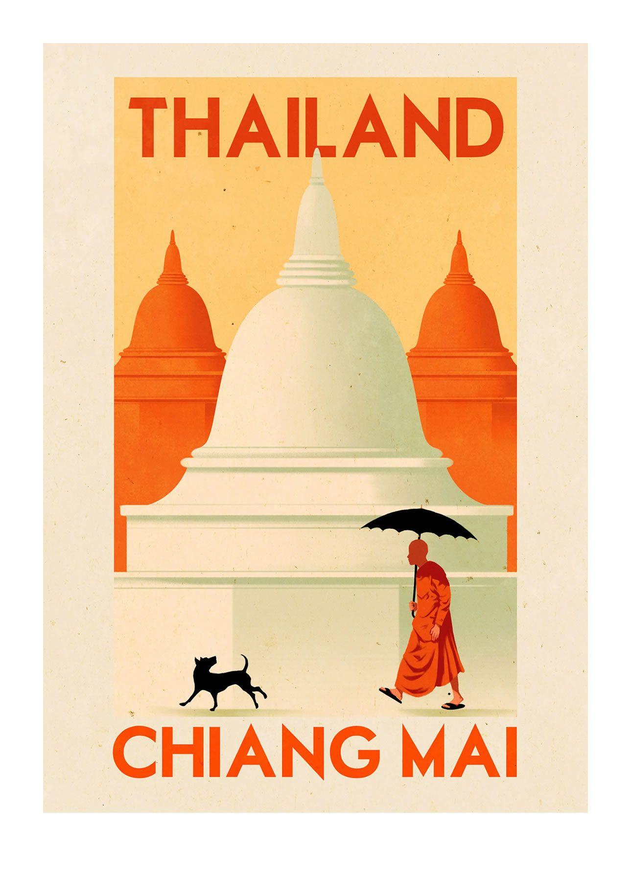 Ruiricardo Folio Illustration Boutique Fine Art Prints Travel Poster Vintage Landmarks Thai Xl Jpg 1289 1 Vintage Travel Posters Travel Posters Vintage Travel