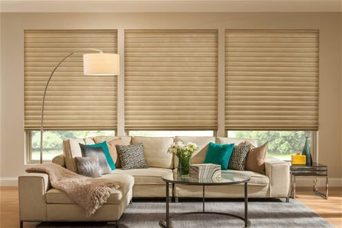 Match your Roman Shades with vertical cellular shades on sliding glass doors. Hybrid Pleated Shades.