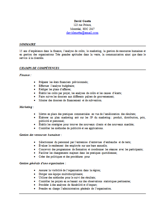 exemple de cv par comp u00e9tences  page 1  pas cool