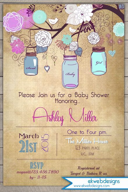 Rustic Mason Jars Baby Shower Invitation Baby Shower Invitations