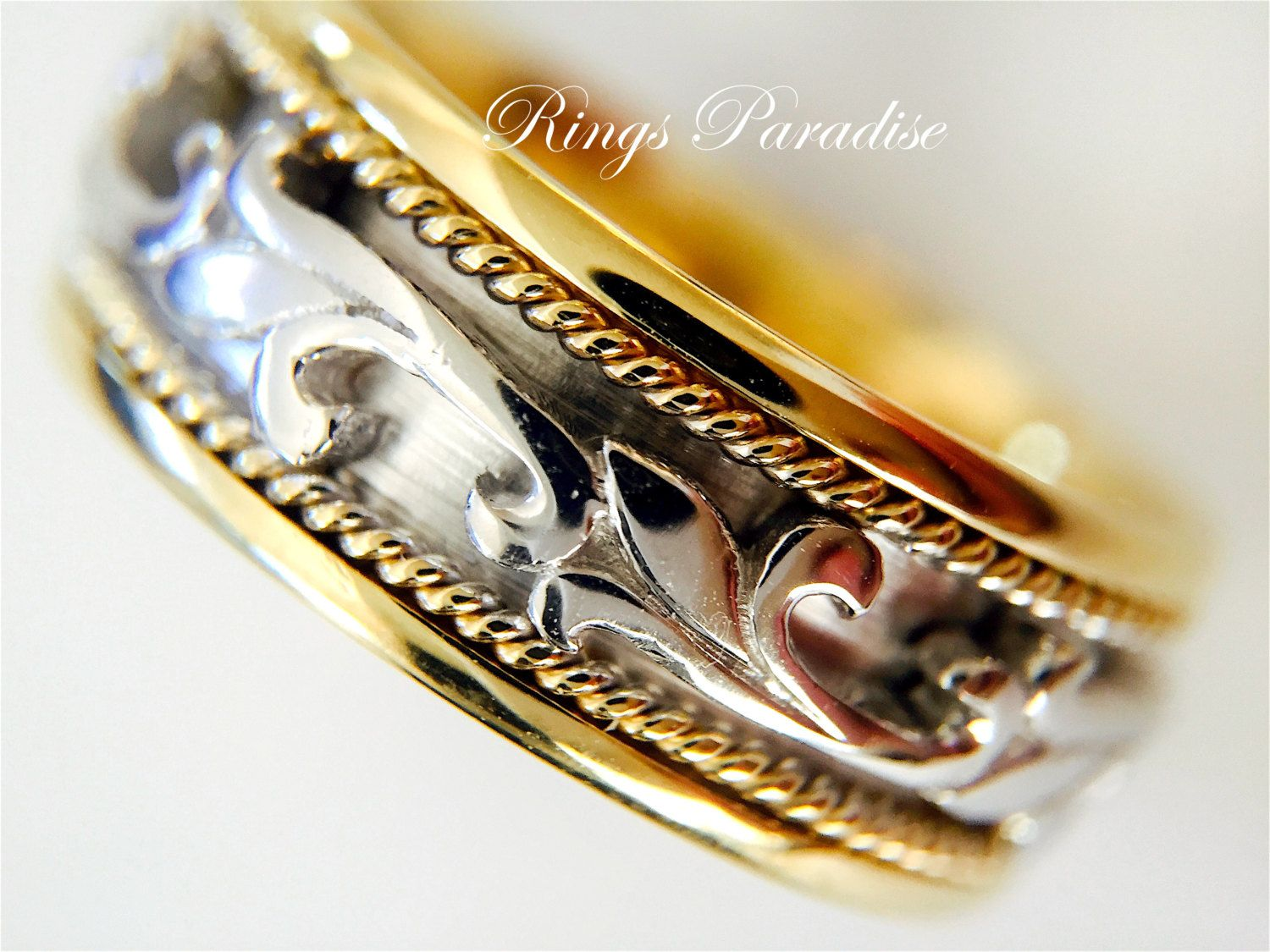 Claddagh Ring, Men's Women Scottish Ring, Unique 14k Gold Wedding Bands  Celtic Engagement Ring Irish Ring Viking Ring His Hers Bands