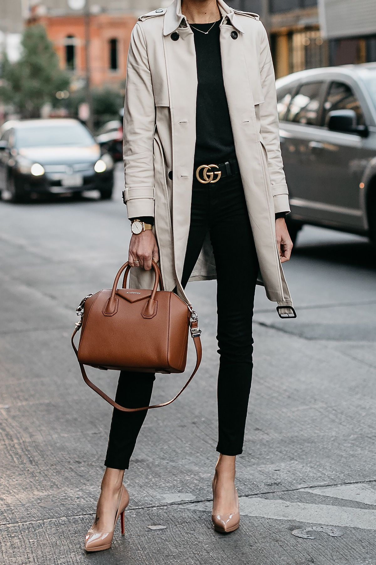 f682cfcd9e Club Monaco Trench Coat Black Sweater Black Skinny Jeans Gucci Marmont Belt  Nude Pumps Givenchy Antigona Cognac Satchel Fashion Jackson Dallas Blogger  ...
