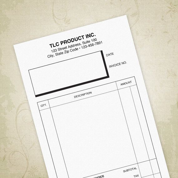Small Invoice Form Printable 5 5 X 8 5 Half Sheet Digital