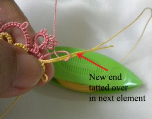 Tat-a-Renda: How to add New Thread Without Tying a Knot  Try this method for adding thread - @Melinda W W Crane