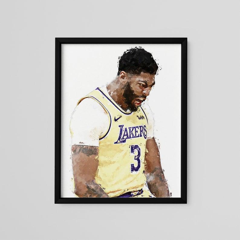 Anthony Davis Poster Los Angeles Lakers Art Print Modern Etsy Anthony Davis Poster Basketball Painting Photography Decor