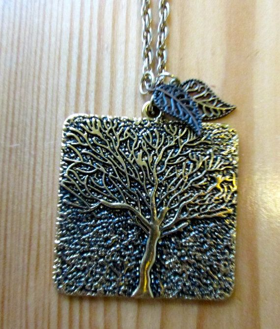 Long chain gold tree pendant necklace with by WuwuTrentDexter, $7.00