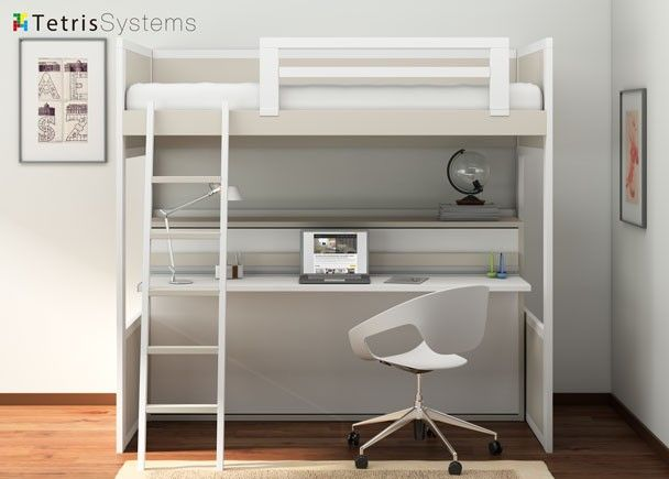 Litera rom ntica con cama abatible y escritorio literas - Cama litera con escritorio debajo ...