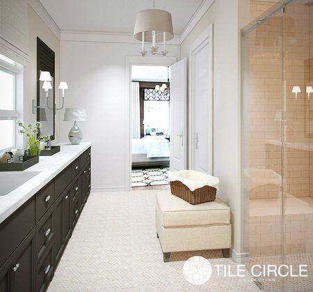 Crema Marfil Marble Polished 1 Hexagon Tile On Bathroom Floor Tilecircle Com Hexagon Tiles Marble Tile Floor Large Format Tile