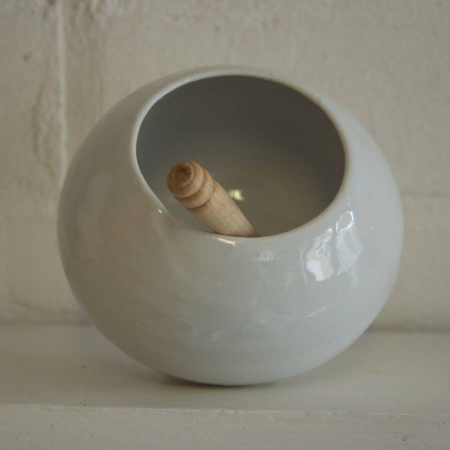 Handmade Porcelain Salt Pot And Wooden Spoon