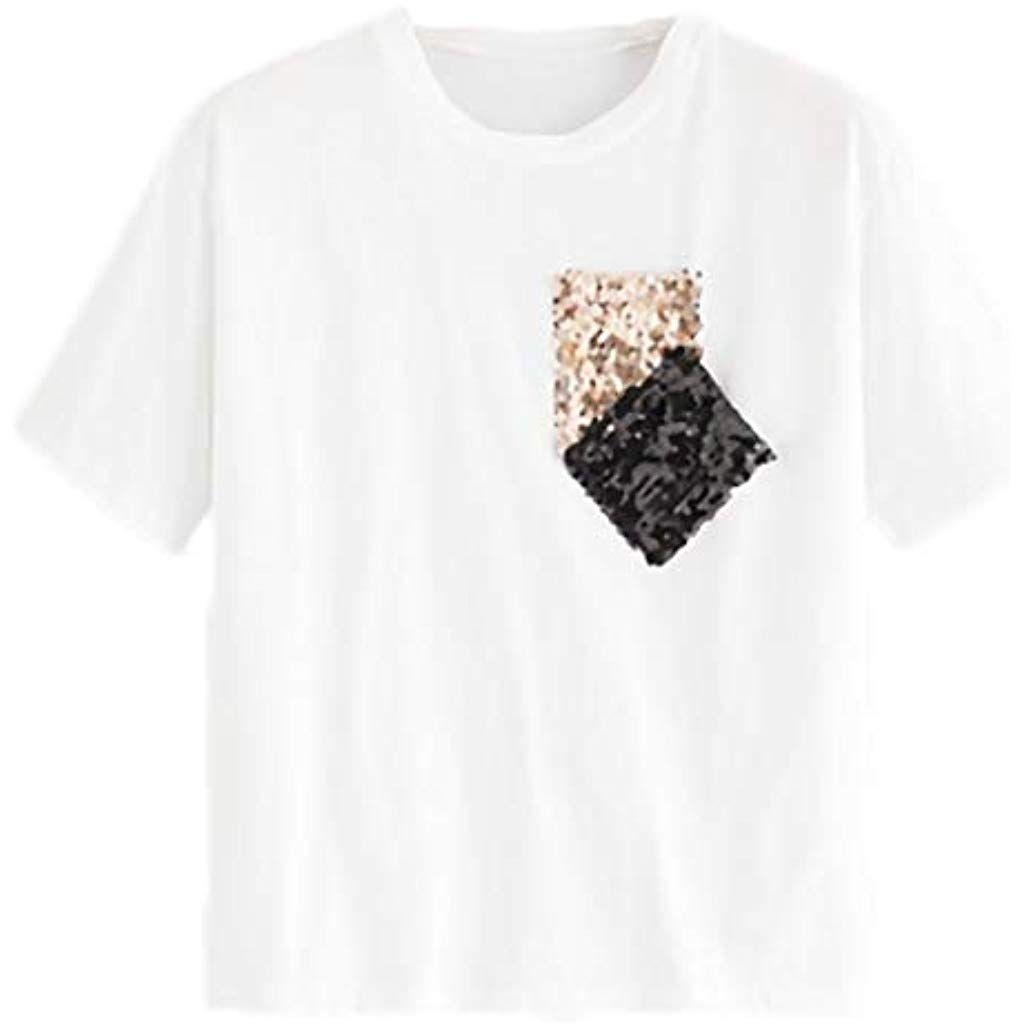e0b083a7633 T-Shirt Femmes Femme Chemise Chic Les Loisirs Paillette Poche en Vrac Col  Rond Col
