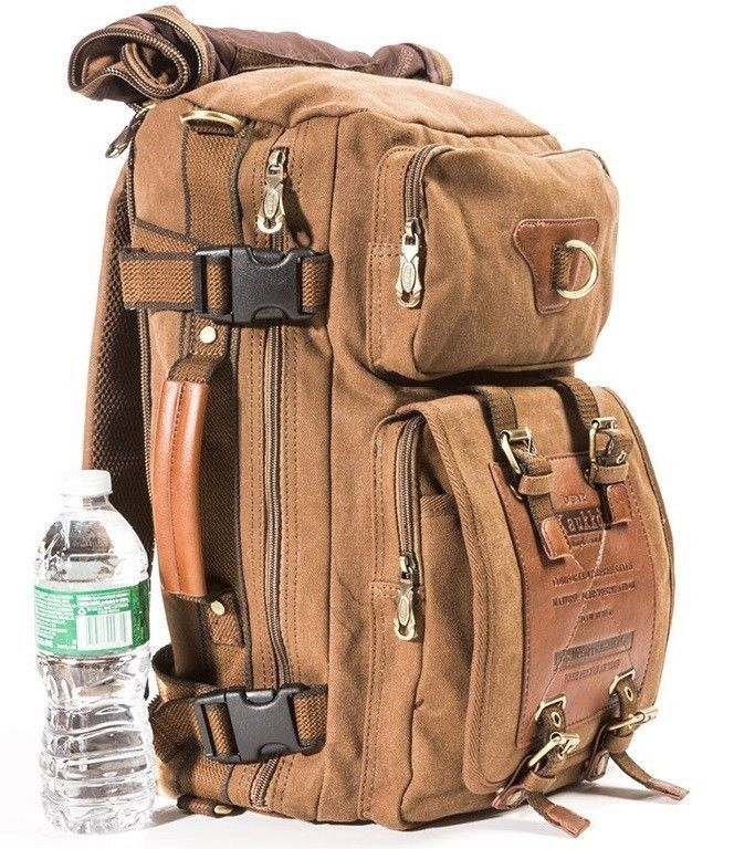men women retro vintage canvas backpack rucksack school