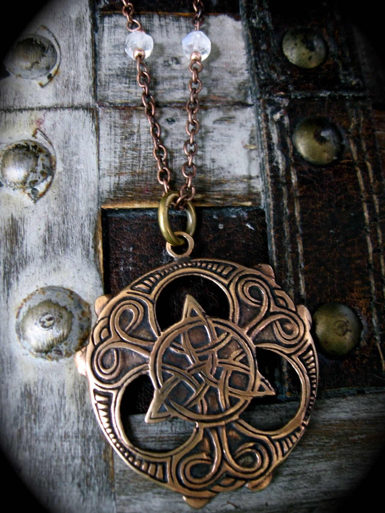 Triquetra Shield With Moonstone Beads Something Wiccan