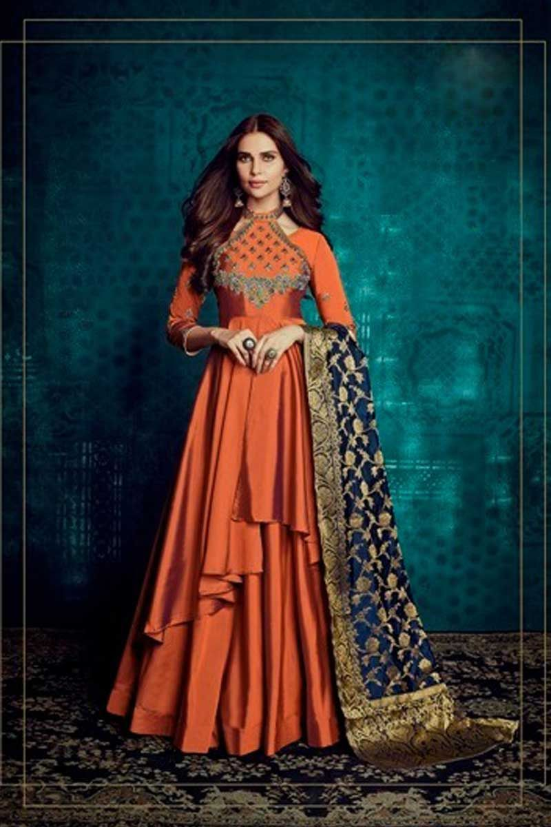 66be616f553 Orange-Indian-Festive-Wear-Embroidered-Tafeta-Silk-Full-Stitched -Long-Length-Gown-1004c-32665 Whatsapp  - +91 9377709531  wholesale  bulk   wholesalesupplier ...