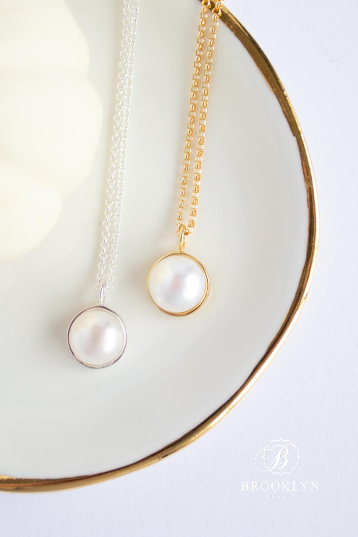 57wf Dainty Pearl /& Diamante Drop Necklaces for women bridesmaids gift wedding