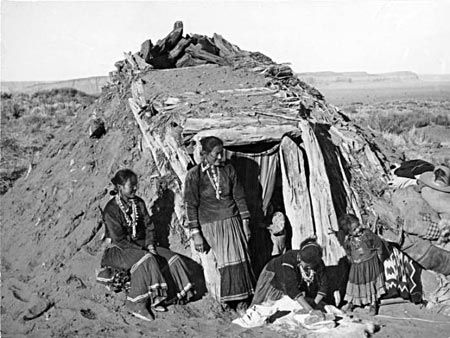 Navajo dwelling, called a hogan...history.