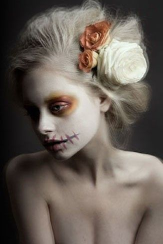 @Glenda Thornton Thornton Mora Harris Skull Makeup by kopainter Inspiration for playing a hippie ghost