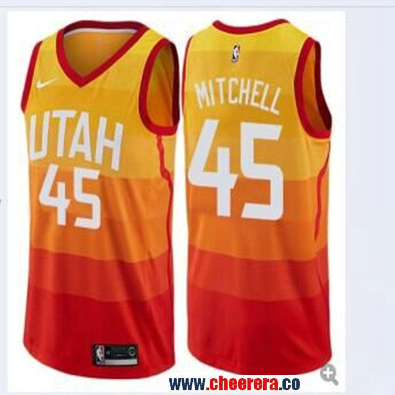 Men s Nike Utah Jazz 45 Donovan Mitchell Multi-Color City Edition Swingman  Jersey 774b38330